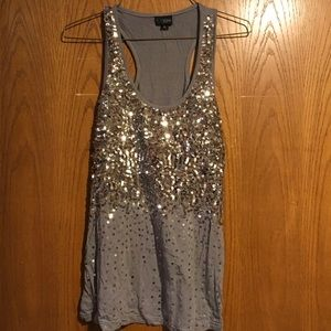 Daytrip Gray Tank with Silver Sequins
